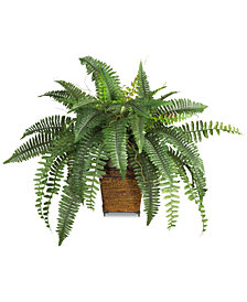 Nearly Natural Boston Fern Plant with Wicker Basket
