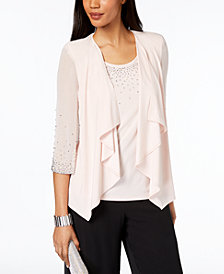 MSK Embellished Chiffon Jacket & Top