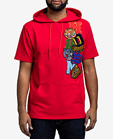 Hudson NYC Men's Short-Sleeve Patch Hoodie