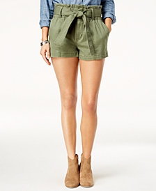 Tinseltown Juniors' Paperbag-Waist Shorts