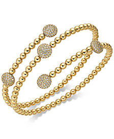 Danori 18k Gold-Plated Pavé Disc Coil Bracelet, Created for Macy's