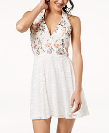 Crystal Doll Juniors' Embroidered Lace Halter Dress