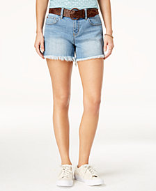Dollhouse Juniors' Belted Frayed-Hem Denim Shorts