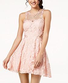 Juniors' Lace Appliqué Fit & Flare Dress