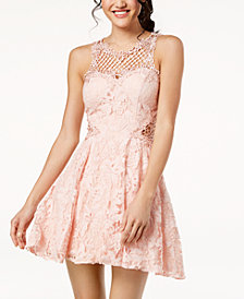 City Studios Juniors' Lace Appliqué Fit & Flare Dress