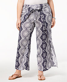 Style & Co Plus Size Printed High-Rise Wide-Leg Pants, Created for Macy's