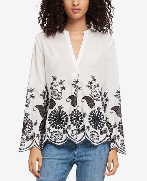 DKNY Cotton Embroidered Scalloped Top, Created for Macy's