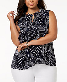 Tommy Hilfiger Plus Size Striped Ruffle Top, Created for Macy's