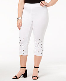 I.N.C. Plus Size Grommeted Cropped Pants, Created for Macy's