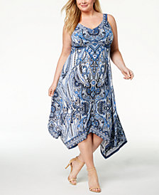 I.N.C. Plus Size Printed Handkerchief-Hem Dress, Created for Macy's