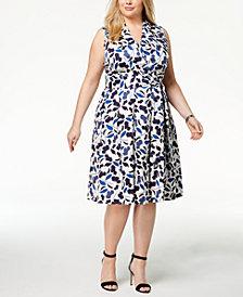 Anne Klein Plus Size Floral-Print Faux-Wrap Dress