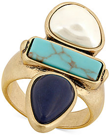 Lucky Brand Gold-Tone Colored Stone & Imitation Pearl Ring