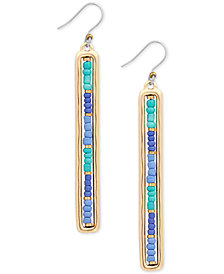 Lucky Brand Gold-Tone Beaded Linear Drop Earrings
