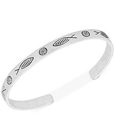 Lucky Brand Silver-Tone Fish Etched Cuff Bracelet