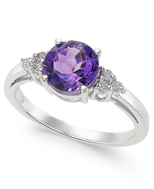 Macy's Amethyst (1 ct. t.w.) & Diamond (1/10 ct. t.w.) Ring in 14k White Gold