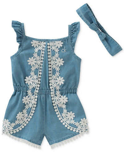 Calvin Klein Chambray & Lace Romper with Headband, Baby Girls