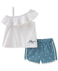 Tommy Hilfiger 2-Pc. Ruffle Top & Shorts Set, Baby Girls