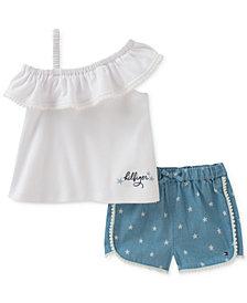 Tommy Hilfiger 2-Pc. Ruffle Top & Shorts Set, Baby Girls