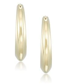 Diamond Accent Polished Knife-Edge Hoop Earrings in 14k Gold over Resin