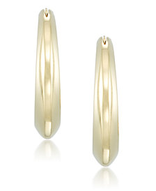 Signature Gold™ Diamond Accent Polished Knife-Edge Hoop Earrings in 14k Gold over Resin