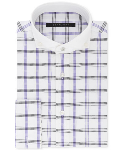 Sean John Men's Classic/Regular Fit Grey & Purple Check French Cuff Dress Shirt