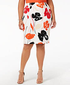 Kasper Plus Size Printed Pencil Skirt