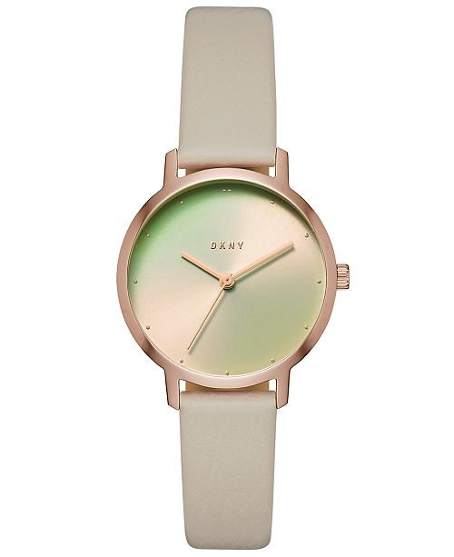 DKNY Women's Modernist Gray Leather Strap Watch 32mm, Created for Macy's