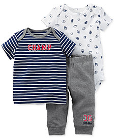Carter's 3-Pc. Cotton Champ T-Shirt, Bodysuit & Pants Set, Baby Boys