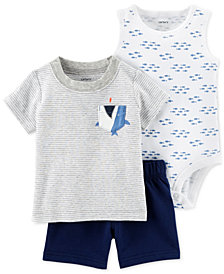 Carter's  Baby Boys 3-Pc. Printed Cotton Bodysuit, Top & Shorts Set