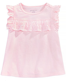 First Impressions Eyelet-Ruffle Cotton T-Shirt, Baby Girls, Created for Macy's