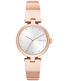 DKNY Women's Eastside Rose Gold-Tone Stainless Steel Bangle Bracelet Watch 34mm, Created for Macy's