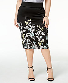 Alfani Plus Size Scuba Midi Skirt, Created for Macy's