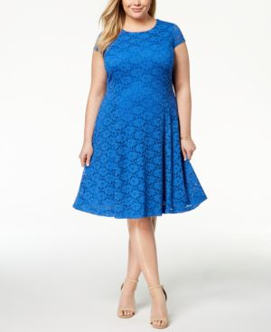Image of Alfani Plus Size Lace Fit & Flare Dress, Created for Macy's