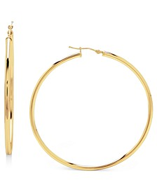 14k Gold Earrings, Large Polished Hoop, 2-1/4 inches