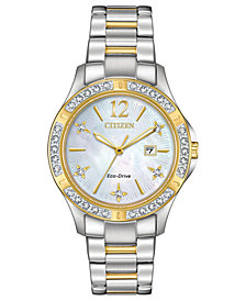 Citizen Eco-Drive Women's Elektra Diamond-Accent Two-Tone Stainless Steel Bracelet Watch 32mm