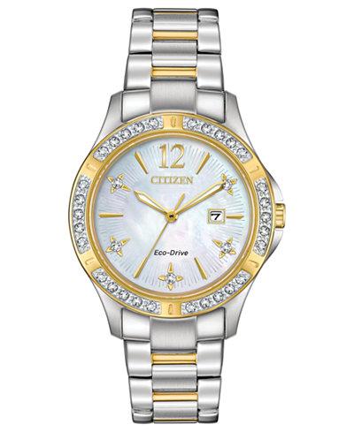 Citizen Eco-Drive Women's Elektra Diamond-Accent Two-Tone Stainless Steel Bracelet Watch 32mm