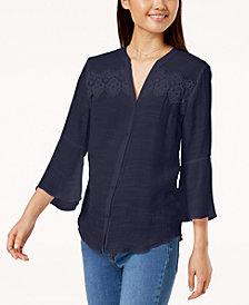 BCX Juniors' Bell-Sleeve Button-Up Shirt