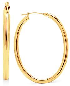 14k Gold Earrings, High Polish Oval Hoop