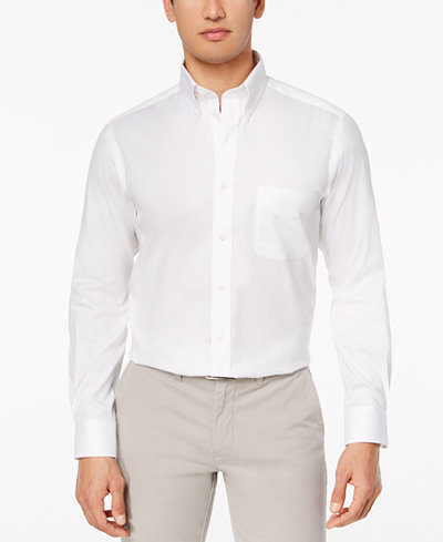 Club Room Men's Slim-Fit Performance Wrinkle-Resistant Pinpoint Solid Dress Shirt, Created for Macy's