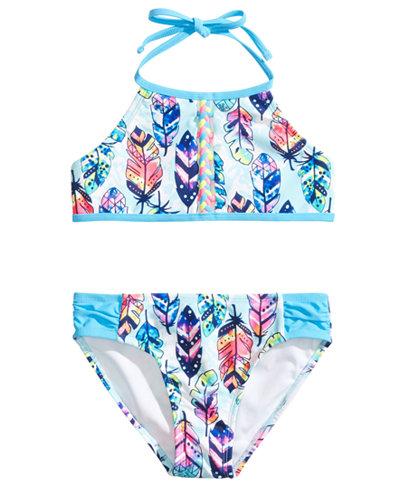 Breaking Waves 2-Pc. Feather-Print Bikini, Little Girls & Big Girls