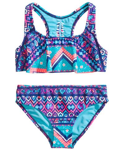 Breaking Waves 2-Pc. Printed Flounce Bikini, Little & Big Girls