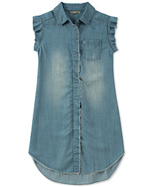 Calvin Klein Raw-Edge Denim Shirtdress, Big Girls