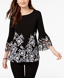 Alfani Petite Printed Crochet-Sleeve Top, Created for Macy's