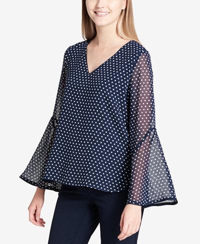 Calvin Klein Chiffon Polka-Dot Bell-Sleeve Top