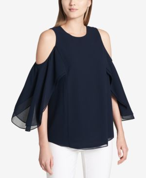 COLD-SHOULDER RUFFLE-SLEEVE BLOUSE