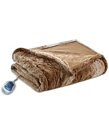 "Beauty rest Zuri Reversible Oversized 50"" x 70"" Heated Faux-Fur Throw Blanket"