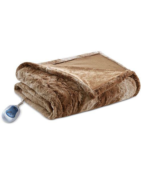 "Beautyrest Beauty rest Zuri Reversible Oversized 50"" x 70"" Heated Faux-Fur Throw Blanket"