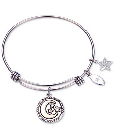 "Unwritten ""Never Stop Looking Up"" Moon and Star Crystal Charm Adjustable Bangle Bracelet in Two-Tone Stainless Steel"