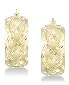 Diamond Accent Patterned Hoop Earrings in 14k Gold over Resin