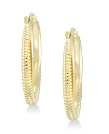 Signature Gold™ Diamond Accent Interlocking Hoop Earrings in 14k Gold over Resin